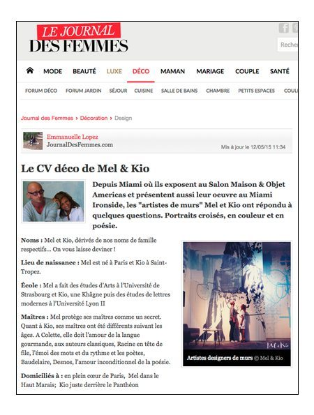 Mel et Kio Journal des femmes Presse 2015